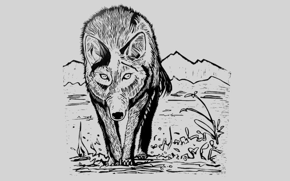 Wolf - Linocut